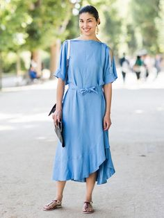 Try a belted dress and flat sandals for hot weather