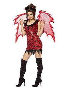 Teufelin Kostüm Set Lady Teufel Kostümset Hölle Damenkostüm Vamp Lucifer Kleid