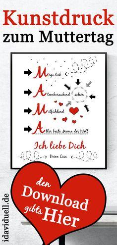 Muttertagsgeschenk: Kunstdruck Download   idaviduell  #kunstdruck #muttertag #download #muttertagsgeschenk Beste Mama, Calm, Artwork, Mother's Day Diy, Personalized Gifts, Art Print, Crafting, Work Of Art, Auguste Rodin Artwork