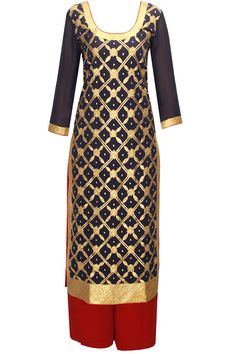 Navy gota embroidered kurta with red palazzo and dupatta available only at Pernia's Pop-Up Shop.