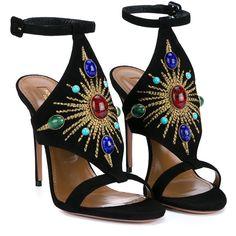 Aquazzura Desert Sun Embellished Sandals (18 050 UAH) ❤ liked on Polyvore featuring shoes, sandals, heels, aquazzura, leather ankle strap sandals, high heel stilettos, black sandals, black embellished sandals and embellished sandals