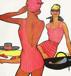 Jantzen Swimsuits advertisement, 1958, Artwork by Rene Gruau...I'm pretty sure I owned that suit...in black!