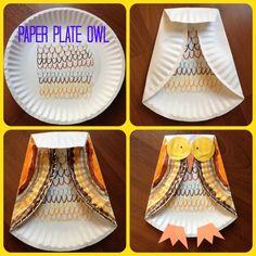 Fall Kids Craft: Paper Plate Owl--so fun!!