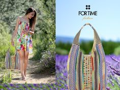 Bolso saco con abalorios multicolor bordados de FOR TIME