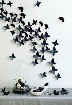 A wall of black butterflies.