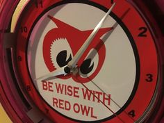 ^^^RED OWL GROCERY Store Kitchen Diner Advertising Neon Wall Clock Sign - $77.99 | PicClick Owl Food, Retail Signs, Red Owl, Grocery Store, Clocks, Minnesota, Weird, Advertising, Neon