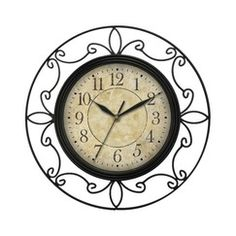 "Wrought Iron Wall Clock - Black (14"")"