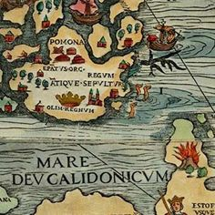 """Olaus Magnus' meticulously illustrated #map the """"Carta Marina"""" depicting #Scandinavia and the North and Baltic Seas in 1529."""