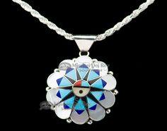 "Native American Silver Pendant Necklace 18"" -Zuni (ij222) - Mission Del Rey Southwest"