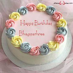 Birthday Cake Write Name, Birthday Cake Writing, Birthday Wishes Cake, Happy Birthday Cake Images, Cake Name, Beautiful Birthday Cakes, Birthday Pictures, Brithday Cake, Buttercream Birthday Cake