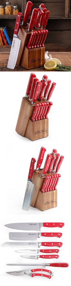 Kitchen and Steak Knives 177005: Red 14 Kitchen Knife Set Block The Pioneer Woman Stainless Steel Cutlery Knives -> BUY IT NOW ONLY: $75.48 on eBay!