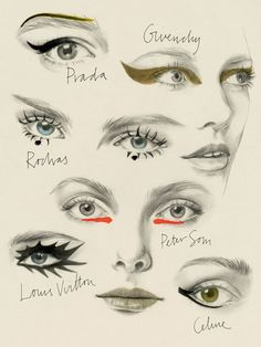 Runway make-up illustrations. - Runway make-up illustrations. Runway Makeup, Beauty Makeup, Eye Makeup, Makeup Monolid, Facechart Makeup, Makeup Meme, Makeup Wings, Hair Makeup, Makeup Eyebrows