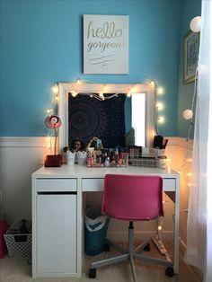 Used IKEA desk for her vanity