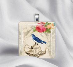 Blue Bird & Teapot Glass Tile Pendant by izzysplace for $6.95