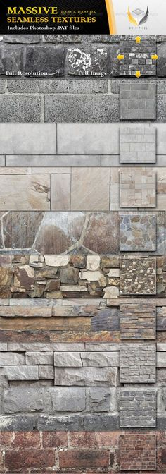 10 Seamless Stone Wall Textures #GraphicRiver All 10 textures in this file have been designed at the massive resolution of 1500×1500px so that you can scale them all the way from close up detail of