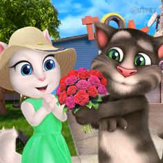 Talking Tom's great surprise! He's taking me on a road trip. For realz!!! xo, Talking Angela #TalkingTom #TalkingAngela #MyTalkingAngela #LittleKitties #roadtrip #happy #excited #flowers #trip #surprise