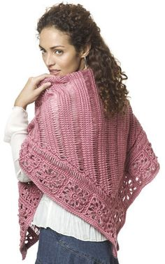 Broomstick Lace Shawl Crochet Pattern from Caron Yarn Broomstick Lace Crochet, Poncho Au Crochet, Pull Crochet, Crochet Shawls And Wraps, Crochet Scarves, Crochet Clothes, Free Crochet, Knit Crochet, Free Knitting