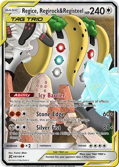 Regice, Regirock & Registeel Tag Trio Custom Pokemon Card Pokemon Mix, Pokemon Craft, Pokemon Stuff, Pokemon Fusion, Pokemon Go Cards, Pokemon Trading Card, Pokemon Breeds, Pokemon Memes, Pokemon Ninetales