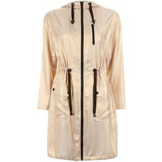 Parka longue dorée à bordures contrastantes (3.120 RUB) ❤ liked on Polyvore featuring outerwear, coats, parka coat and beige coat