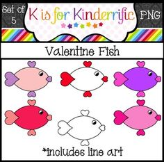 I hope you enjoy this free set of Valentine fish!  Ok for personal or commercial use.  If you're looking for more Valentine's clip art, check out my cute set of Valentine bunnies!