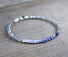 Delicate Labradorite & Ombre Blue Sapphire Bracelet, Sapphire September…