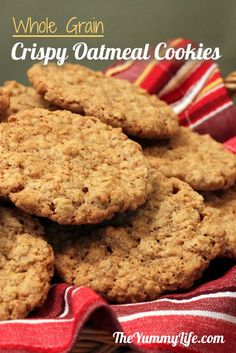 Whole Grain Oatmeal Cookies. A healthier version of a classic thin & crispy cookie recipe. www.theyummylife.com/Oatmeal_cookie_recipe
