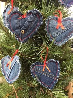 Recycled denim ornament sets Set of 3 denim heart ornaments. Approximately in size. Each ornament is made of recycled denim jeans, lightly stuffed and the edges are frayed. They have a red ribbon hanger. When ordering please specify which set you would Diy Christmas Ornaments, Handmade Christmas, Christmas Holidays, Christmas Decorations, Plaid Christmas, Handmade Ornaments, Rustic Christmas, Christmas Christmas, Christmas Sewing