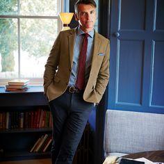Camel moleskin unstructured slim fit jacket | Men's blazers & jackets from Charles Tyrwhitt, Jermyn Street, London £129