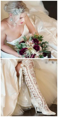 Handmade Lace Over the Knee Lace Wedding Boots by House of Elliot. Feel Unique on your Wedding Day with our showstopping 'Goodnight Sweetheart' Over the Knee Lace boots! #weddingboots #laceboots #vintagboots #steampunkboots