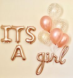 Its A Girl Script Balloon~Its A Girl Baby Shower~Baby Shower Decorations~Baby Photo Prop~Gender Reveal Balloon~Rose Gold Baby Girl~Rose Gold Regalo Baby Shower, Idee Baby Shower, Baby Shower Invitaciones, Baby Girl Shower Themes, Baby Shower Gender Reveal, Baby Shower Parties, Baby Shower Roses, Baby Shower Balloons, Girls Party Decorations