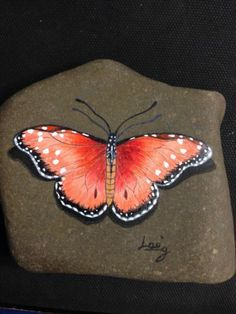 "Hand Painted Signed Rock Stone ""Butterfly"" by LAN 