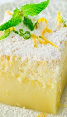 Lemon Magic Cake Recipe ~ one simple batter that turns into a 3 layer cake. The popular magic cake now in lemon flavor. Simple Cake for you Lemon Magic Cake Recipe, Magic Cake Recipes, Lemon Dessert Recipes, Lemon Recipes, Baking Recipes, Sweet Recipes, Magic Custard Cake, Lemon Lush Dessert, Gluten Free Lemon Cake