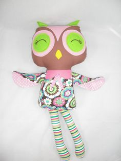 Handmade stuffed Owl Doll Plush Owl Cloth Owl Made to by cocomia, $35.00