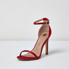 Red barely there heeled sandals