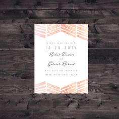 SAMPLE: Flat Chevron Blush and Peach Ombre Watercolor Save the Date (letterpress printing also available) Save The Date Invitations, Bridal Shower Invitations, Invites, Stationery Templates, Stationery Design, Save The Date Inspiration, Watercolor Typography, Lucky Penny, Letterpress Printing