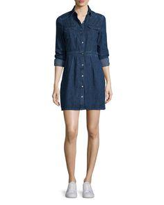 TBKB5 rag & bone/JEAN Long-Sleeve Snap-Front Utility Dress, Paz
