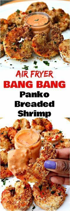 Air Fryer Bang Bang Fried Shrimp is a quick and easy, healthy, low-fat recipe with sweet chili and Sriracha dipping sauce.