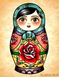 Matryoshka Illustration Print by Alxbngala on Etsy, $10.00