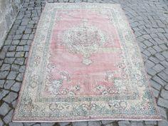 Pink Oushak Rug Large Vintage Anatolia Oushak by LAVENDERSKYBLUE