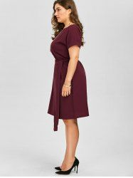 Plus Size Belted Knee Length Dress With Pockets - WINE RED 4XL Mobile