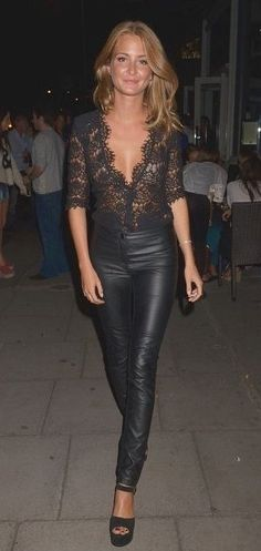 Lace and leather... Never thought I'd like the look of leather pants but. This is cuuute.