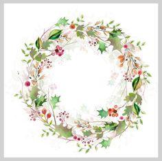 Watercolour Christmas Wreath