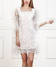 Loving this White Butterfly Lace Shift Dress on #zulily! #zulilyfinds
