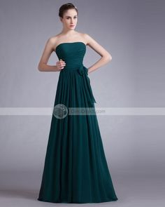 Amylinda Chiffon Bow Floor Length Strapless Gown  @looksgud  #Amylinda, #PartyWear, #Teal