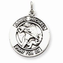 Antiqued Saint Michael Medal, Appealing Charm in Sterling Silver