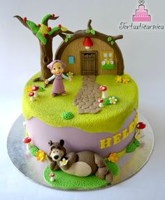 Masha and the bear cake for girls