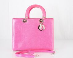 Christian Dior stunning classic Lady Dior tote bag in the most beautiful pink lizard with palladium charms. - goalsBox™