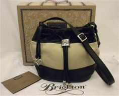"Brighton ""Brit"" Mini Drawstring Bucket Bag Black & Biscotti Leather H34493 NWT"