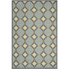 Safavieh Indoor/ Outdoor Hampton Dark Gray/ Light Blue Geometric-pattern Rug (5'1 x 7'7)