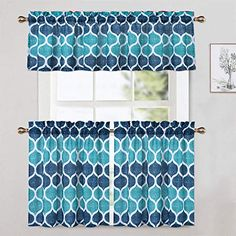 CAROMIO Cafe Curtains 24 Inch with Valance, Geometric Printed Short Farmhouse Kitchen Tier Curtains and Valances Set Bathroom Window Curtains, Navy/Teal Teal Curtains, Bathroom Window Curtains, Bathroom Windows, Room Darkening Curtains, Cafe Curtains, Sheer Curtains, Valance Curtains, Kitchen Valances, Country Curtains